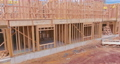 Panorama view framing unfinished of a apartment residential construction wall 77047106