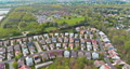 Panorama view of american small town residential houses neighborhood suburban complex 77048763