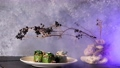 Zucchini dishes are laid out in a plate with a beautiful decor. Slow-motion photo of food with smoke. Restaurant dish. The Food Is Clean 77109996