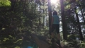 Adventurous Woman hiking on a fallen tree in a beautiful green rain forest 77138560