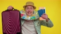 Summer vacation, traveler tourist teen student man celebrating, holding passport, tickets, luggage 77157156