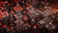 Array of red mechanical units seamless loop 3D render animation 77224255