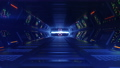 Blue sci-fi passageway with control panels 3D render seamless loop animation 77224261