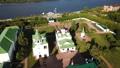 Aerial view of russian landmark Spaso-Preobrazhensky monastery and river, Murom 77242853