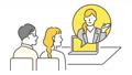 オンラインでお客様に提案をするビジネスパーソンのイメージイラスト動画 77355565