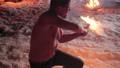Battle evil aggressive viking warrior in northern tattoos burning fire swords 77360208
