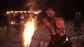 Battle evil aggressive viking warrior in northern tattoos burning fire swords 77360209