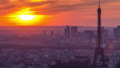 Panorama of Paris at sunset timelapse. Eiffel tower view from montparnasse building in Paris - France 77367512