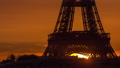 Eiffel Tower sunrise timelapse with boats on Seine river and in Paris, France. 77367516