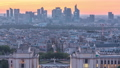 Aerial view over Trocadero day to night timelapse with the Palais de Chaillot seen from the Eiffel Tower in Paris, France. 77367534