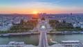 Sunset over Trocadero timelapse with the Palais de Chaillot seen from the Eiffel Tower in Paris, France. 77367545