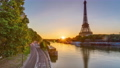 Eiffel Tower and the Seine river at Sunrise timelapse, Paris, France 77369566