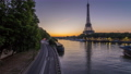 Eiffel Tower and the Seine river night to day timelapse, Paris, France 77369569