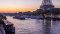 Eiffel Tower and the Seine river night to day timelapse, Paris, France 77369573