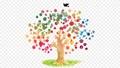SDGsイメージの水彩の木と鳩のアニメーション 77675860