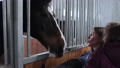 Family with horse in the stable 77895221