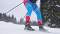 Young woman skiing on a forest trail 77895226