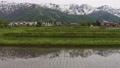 水田の水面に映る美しい白馬三山(ドローンによる空撮)長野県白馬村 77942783