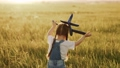 Happy child, girl playing with toy airplane on summer field. Kid runs on grass with a toy smolot. Happy family is playing in park. Little Daughter dreams of flying. Carefree kid playing outdoors 78164118