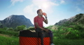Black man drinking coffee on huge cup in nature 78219679