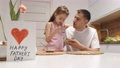 Cheerful little daughter and dad having breakfast 78389876