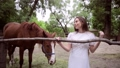 Young woman is stroking a horse. 78487383