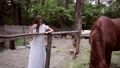 Woman feeds the horse with grass. 78492371