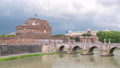 Saint Angel castle timelapse and bridge over the Tiber river in Rome, Italy. 78551877