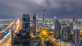 Panoramic skyline of Dubai day to night timelapse, United Arab Emirates. View of world famous skyscrapers. 78551882