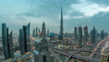 Modern skyscrapers and busy evening highways day to night timelapse in luxury Dubai city, Dubai, United Arab Emirates 78551891