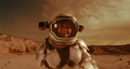 Female astronaut looking at camera on Mars 78576255