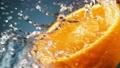 Super slow motion of orange slice with water splashing around. Filmed on high speed cinema camera, 1000 fps. 78673688