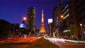 東京タイムラプス 夕暮れの桜田通りとライトアップする東京タワー 78813615