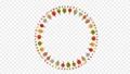 回転する秋の木々と葉の円形飾り枠イラスト 79663701