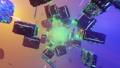 Flight in 3D VJ seamless loop abstract neon Infinite digital light blue, yellow, green tunnel, with neon lights. 79958724