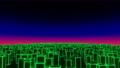 Seamless flight over the futuristic neon city. 80s retrowave background 3d animation. VJ loop. 79960910