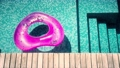 Blue water with inflatable ring close up, sea water pool background  81182805