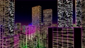 Flight through big futuristic neon city. Technology and Business related 4K 3D animation. 81890103