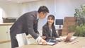 ビジネス オフィスでパソコンを見て会話する男女 撮影協力:WEEK芝大門(サンフロンティア不動産) 81956022