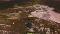 Aerial view of opencast mining quarry with ponds 82648749