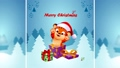 Tiger cub in a cap of santa claus with gifts on the background of the winter  82775735