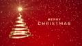 """クリスマスツリーの形に渦巻くリボンのアニメ 赤 文字付き""""MERRY CHRISTMAS"""" 83186405"""