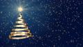クリスマスツリーの形に渦巻くリボンのアニメ 青 CG背景 83186407