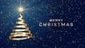 """クリスマスツリーの形に渦巻くリボンのアニメ 青 文字付き""""MERRY CHRISTMAS"""" 83186408"""